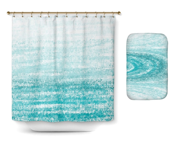 Shower Curtain Bathroom Decor Aqua Teal Turquoise Modern