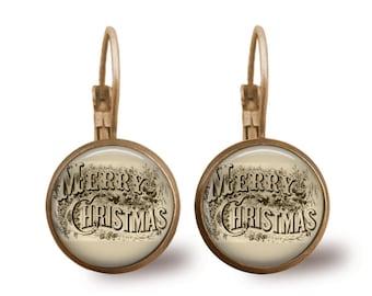 Christmas Earrings Christmas Jewelry Tile Earrings Holiday Brass Jewelry Holiday Earrings Beaded Jewelry Brass Jewelry Silver Jewelry