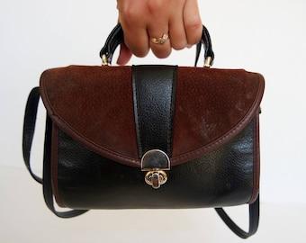 Vintage Black and Brown Ladies Theatre Shoulder Bag Genuine Leather Bag Messenger Bag Women Purse Small Size