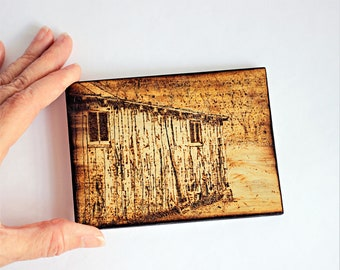 Wood Burned Cabin Home Decor Pyrography Small Woodburned Old Building Picture Photograph Office Desk Desktop Art by Hendywood