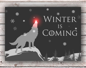 Winter Is Coming Game of Thrones Christmas Holiday Printable Greeting Card Instant Digital Download GOT House Stark Direwolf Dire wolf