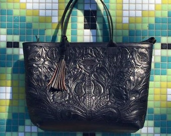 Tooled Leather purse   Mexican leather bag   Hand Tooled Leather Bag   Mexican Handbag  Carved Leather Tooled Purse  Tooled Flowers 699a2254f62b1