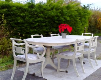 NOW SOLD***Stunning, Very Large Vintage Dining Table and 6 Chairs. Extends to over 8ft! Shabby Chic, Pale Cream.