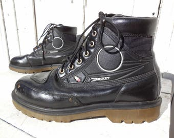 CHUNKY Boots/JOE ROCKET/Steampunk Boots/Black Leather Ankle Boots/Motorcycle Boots/Chukka Boot/Combat Boots/Work Boots/Punk Rock/Men Size 11