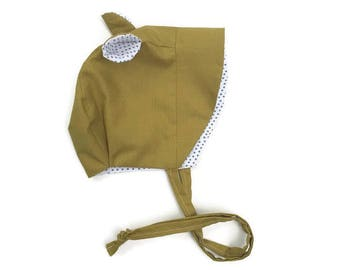 Bear Bonnet || Bear Sunbonnet || Baby Sunbonnet || Baby Bonnet || Baby Boy Sunbonnet || Baby Hat || Baby Sun Hat || Brimmed Bonnet