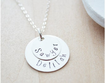 Grandchildren Name Necklace - Grandma Necklace - Grandchild Necklace - Stacked Mom Jewelry - Silver Filled - Personalized Gift for Mom