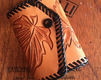 Hand Tooled Light Brown Leather Key Holder With Black Whip Stitches Engrave of Leaves