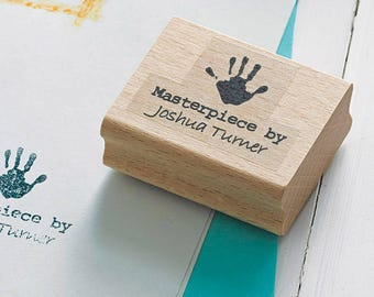 Masterpiece By Stamp with Hand Print design, Rubber Stamp perfect for Crafting