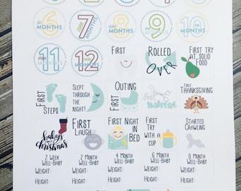 Baby Milestones Planner Stickers, Pregnancy Sticker, for use with Erin Condren Life Planner, Happy Planner Stickers
