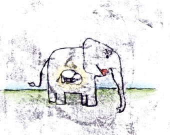 """Greeting card """"Baby elephant"""" with envelope"""