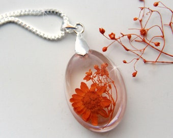 Terrarium Necklace, Resin Jewelry, Fairy Garden, Romantic Necklace, Orange Necklace, Dainty Necklace, Real Flower Necklace, Necklace