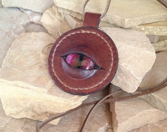 Leather Dragon Eye Necklace, Hand Stitched, Hand painted Eye Cabochon Nestled in Figment's Leather Work, Geek gift, LARP Jewelry