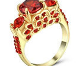 1.0/ct Red Ruby CZ Size 7