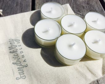 natural unscented soy wax tea lights candles - hygge, yoga studio, home decor