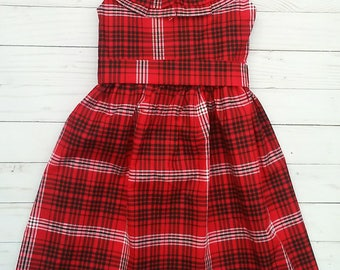Girls Valentines Day Dress - Girls Valentines Day Outfit - Handmade Dress - Black and Red Plaid Dress-Ruffle Neck Dress-Girls Handmade Dress