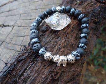 Snow quartz bracelet with vólcanica stone