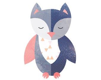 Baby Owl Print Owl Children's Wall Art Owl Illustration Baby Owl Nursery Woodland Baby Nursery Decor Owl wall print
