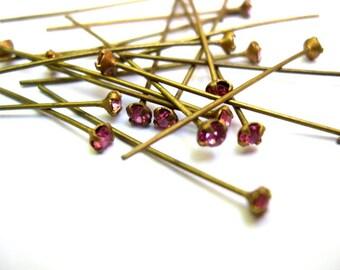 6 Vintage Swarovski headpins findings pink crystal 3mm
