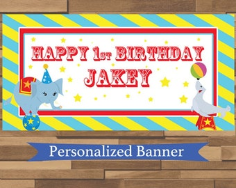 Personalized Carnival Party Banner | Circus | Big Top | Carnival Party | 1st Birthday | Custom Party Banner