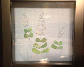 Sea Glass Art/Shadow Box/Lupine Flowers/Collage/Green Sea Glass