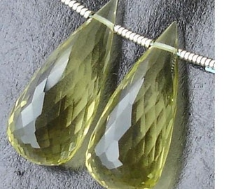 AAA Quality, 21mm Long GREEN LEMON Quartz Micro Faceted Elongated Drops Shaped Briolettes- Amazing Matched Pair