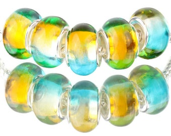 5 Blue & Yellow Acrylic Gradient Spacer Beads, Blue Beads, Yellow Beads, Charm Bracelet, Craft Supplies, USA Seller, 12mm