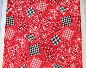 last chance Vintage Bandana Style PATCHWORK Red, Black and White Cotton Fabric 2 yards