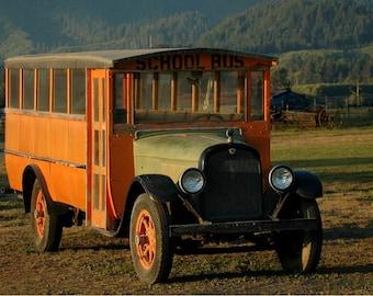 Vintage School  Bus photo, The school bus awaits.....home decor, wall decor, Nostalgic, Man cave decor, Historic, Man gift