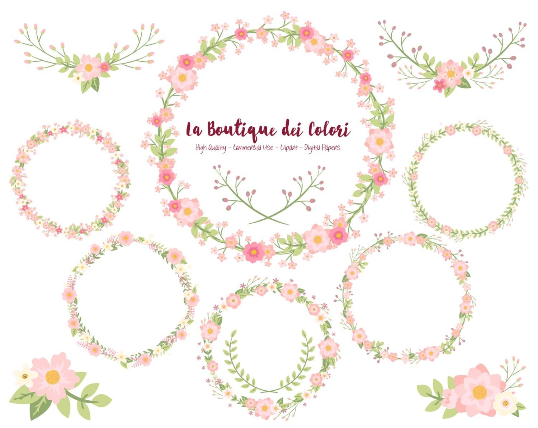 Pink Flower Wreath Clipart Cute Scrapbook PNG Laurel Wedding
