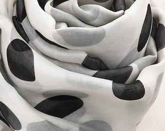 White Silk Chiffon Scarf with Big Polka Dot Print - Black Dot Printed Silk Scarf - AS2015-58