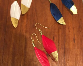 Gold Dipped Feather Earrings, Mother's Day gift, gifts for your love,  clothing gift, hypoallergenic gold earrings dangle, boho