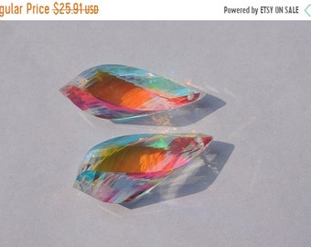 25% OFF Summer Sale 25 Percent OFF 2 Pcs Matched Pair Rainbow Mystic Quartz Faceted Twisted Drops Briolette Size 30*10 MM
