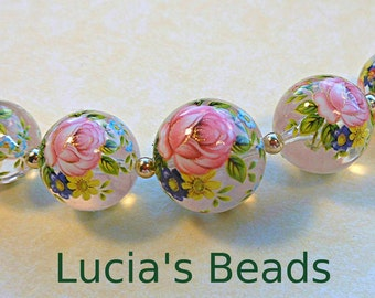 NEW Gorgeous  Pink Rose on Clear Japanese Tensha Bead Graduated Set