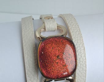 Orange Sparkle Triple Wrap Cuff Bracelet, Dichroic Glass