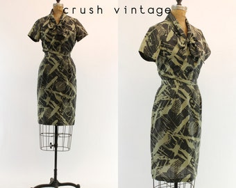 50s Vintage Dress Skirt and Blouse XS  / 1950s Camoflauge Print Dress  / Cayuga County Outfit