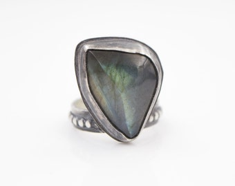 Labradorite - Beaded - Sterling Silver -  Ring