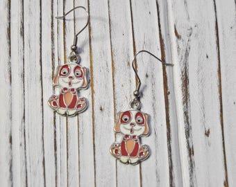 Dog Earrings, Dangle Earrings, Womans Jewellery, Gift Ideas for Her, Stainless Steel Hooks