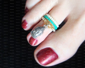Stacking Toe Ring, Stacking Ring, Buddah Head Charm, Turquoise Beads, Cream Beads, Austrian Crystals, Toe Ring, Ring, Stretch Bead Toe Ring