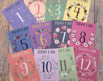 Floral Monthly Baby Girl Milestone Cards