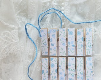 Bridal Wedding Boy Baby First Baby Shower - Blue Wildflowers Chunky Little Clothespin Clips w Twine for Display - Set of 12 - Gifts Under 10