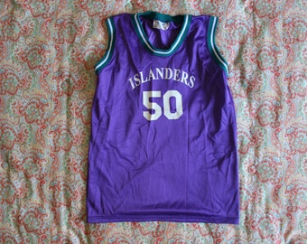 90s basketball jersey - purple teal and white - Islanders Number 50 - Made by ACS, All Canadian Sports Equipment