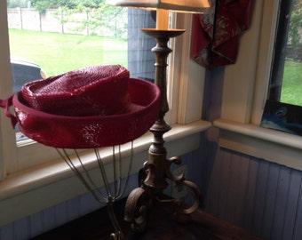 1940's Red Straw Hat