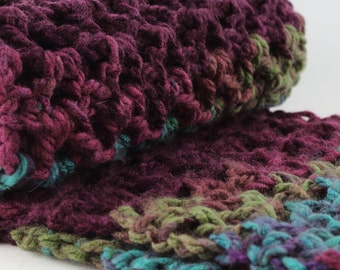 Turquoise & Burgundy Scarf, Chunky Oversized Infinity Scarf, Mulitcolor Crochet Snood, Fall Gift for Her, Winter fashion, Neckwarmer