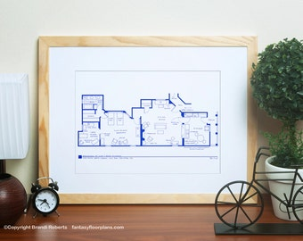 I Love Lucy 2nd Apartment Floor Plan - Famous TV Show Floor Plan - BluePrint for NYC Apartment of Lucy and Ricky Ricardo - Architecture Art
