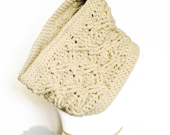 Oatmeal Chunky Crochet Scarf, Beige Crochet Cowl, Cable Scarf, Off White Crochet Neck Warmer,  Tan Chunky Scarf, Brown Infinity Scarf