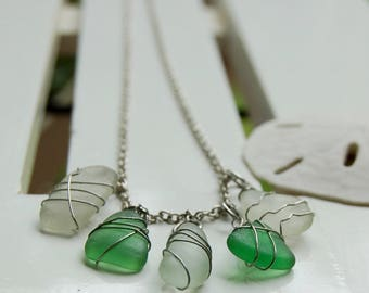 White and Green Sea Glass Necklace  - Natural Sea Glass Necklace, Wire Wrapped, Multi-glass, multiple pendant