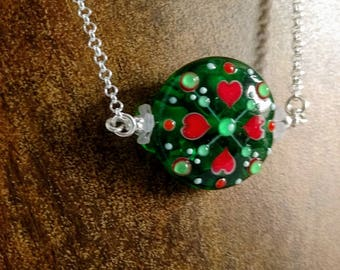 Lampwork Glass Bead Necklace, Holiday Folk Art Red and Green, Artisan Glass Bead Pendant, Christmas Mandela Glass Necklace, Boho Pendant