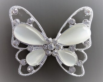 Butterfly hook 5.2 cm metal silver and rhinestone