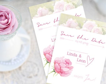 A6 Wedding Save the date invitation card wedding rose marriage romantic playful pink