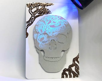 Original Inktober 'Crooked' Cut Paper Skull UV Ink Artist's Trading Card